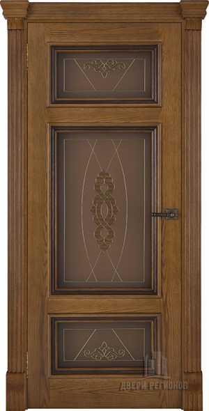 Ульяновские двери Мадрид дуб Patina Antico Витраж